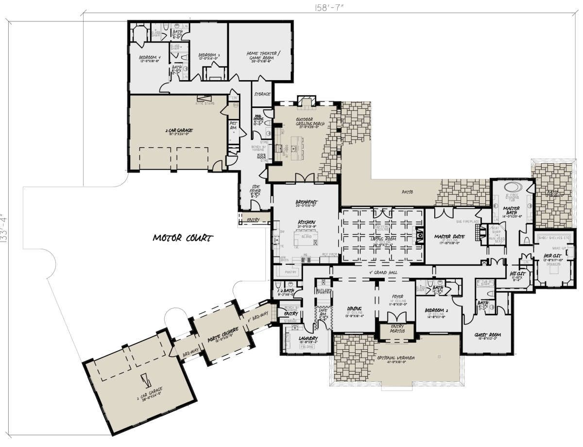 House Plan 8318 00082 European Plan 5 695 Square Feet 5 Bedrooms 6 Bathrooms Multigenerational House Plans Ranch House Floor Plans Family House Plans