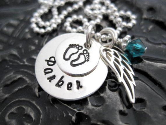 Angel Baby Mommy Necklace Hand Stamped by BragAboutIt
