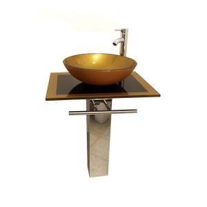 Kokols Parvati Pedestal Combo Bathroom Sink in Mustard Gold-WF-40 - The Home Depot