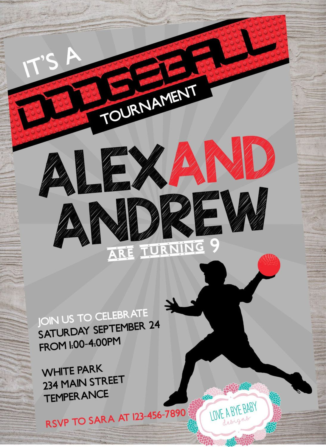 dodgeball birthday party invitation printable digital download by