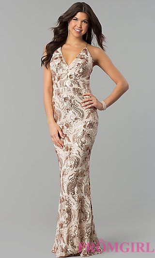 a5b8ad251f9 Long V-Neck Prom Dress with Rose Gold Sequin Pattern