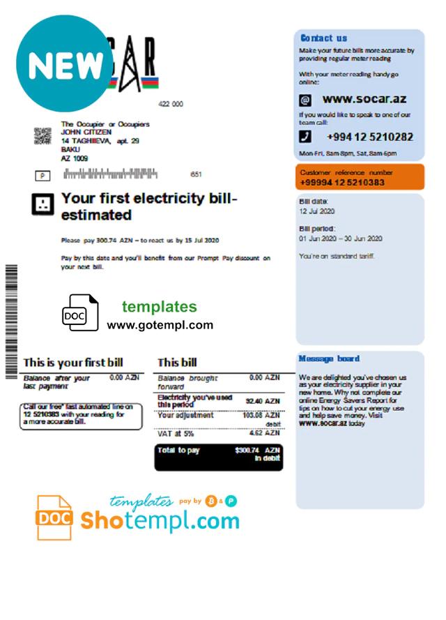 Azerbaijan Socar Gas Utility Bill Template In Word Format Bill Template Bills Gas Utility