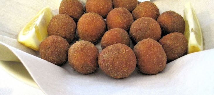 Chorizo Stuffed Fried Olives Recipe Appetizers with chorizo, cream cheese, smoked almonds, olives, flour, egg wash, panko breadcrumbs, oil