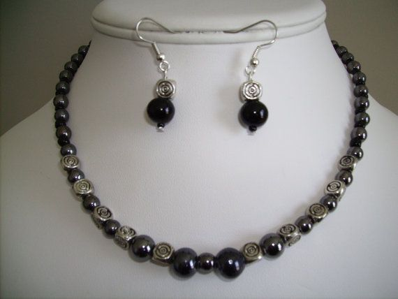 18 inch Hematite and silver bead necklace with by lindaschiefer, $23.00