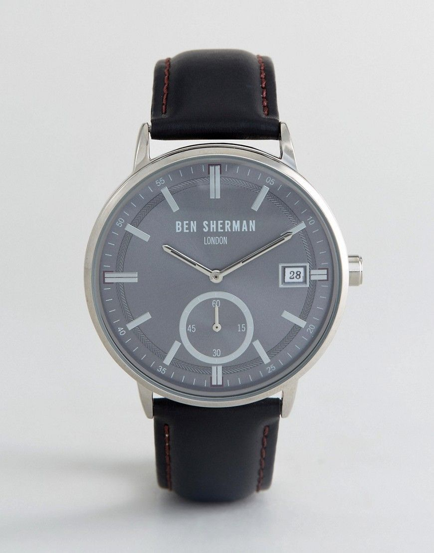 BEN SHERMAN WB071BB WATCH IN BLACK LEATHER - BLACK.  bensherman ... 99ec9016e9f