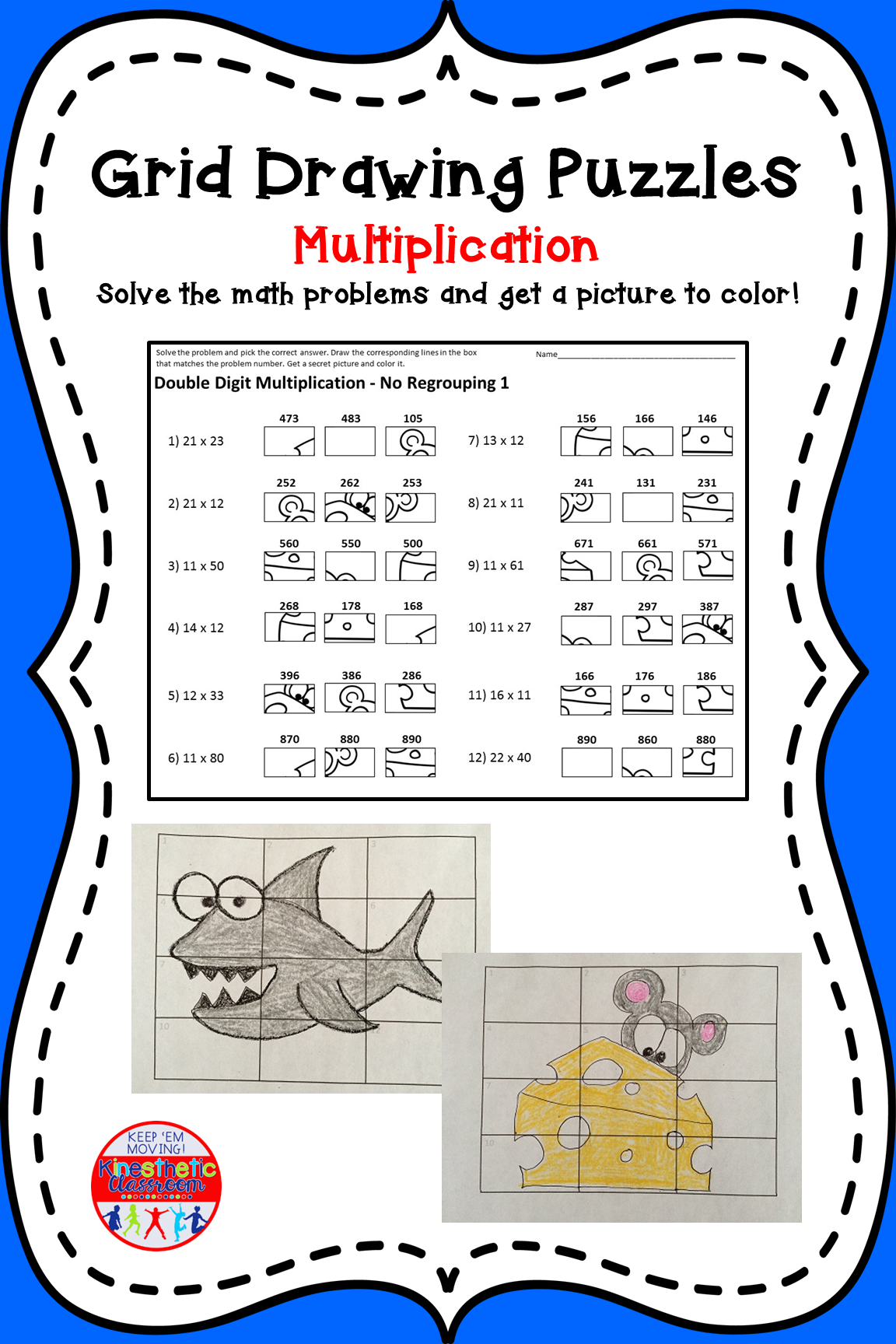 Double Digit Multiplication Worksheets Grid Drawing Math