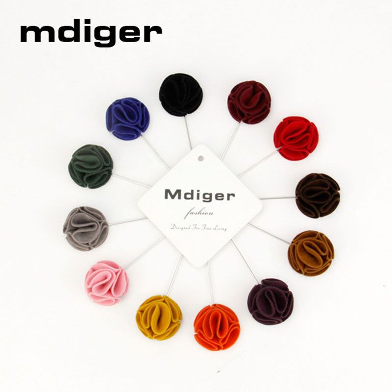 Mdiger Handmade Men Suits Brooch Fashion Cloth Flower Lapel Pins Brooches for Women Broches Lapel Pin For Wedding 10PCS/LOT #Affiliate
