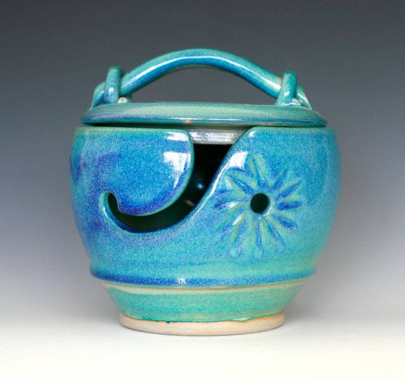 Turquoise Yarn Bowl with Lid