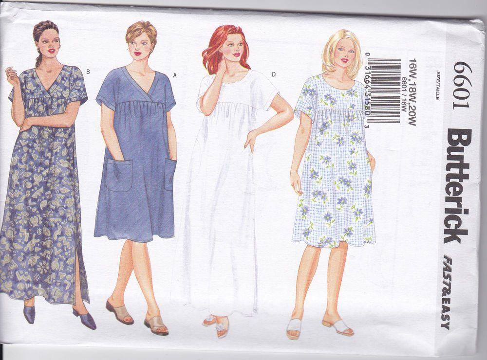 Butterick Fast & Easy Mumu Dress Sewing Pattern 6601 (28W-30W -32W ...