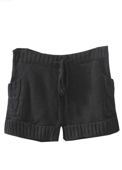 OMG... i must own these!! Black Drawstring Cable Knit Sweater Shorts