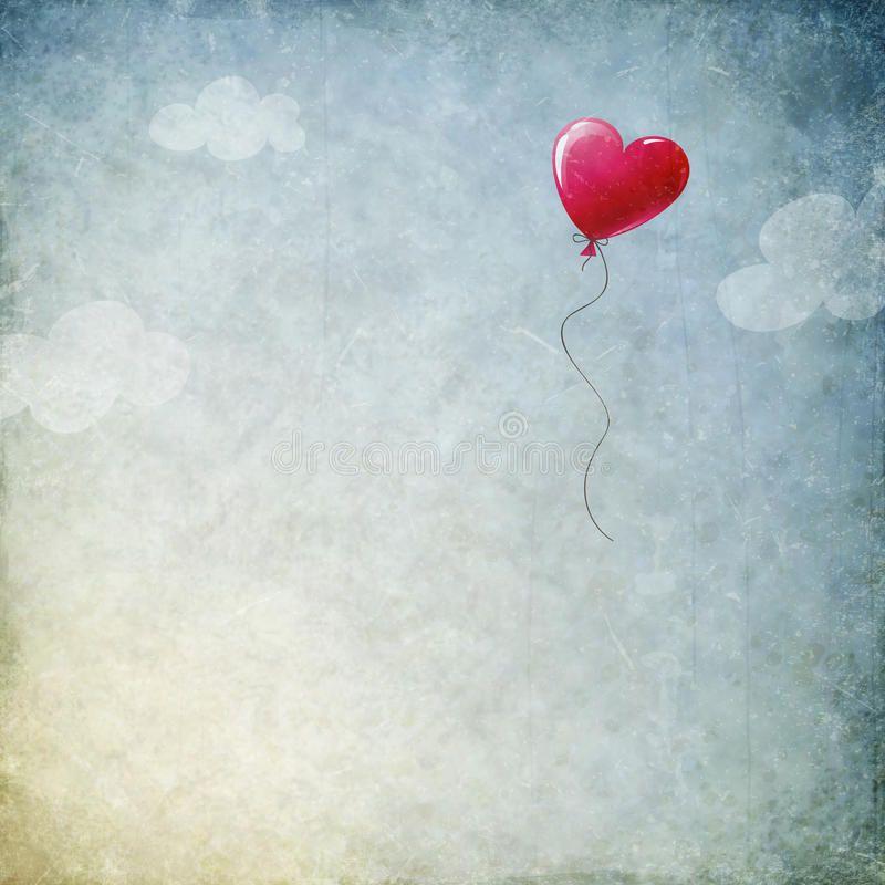 Grunge background with heart balloon. Illustration , #affiliate, #background, #Grunge, #heart, #Illustration, #balloon #ad