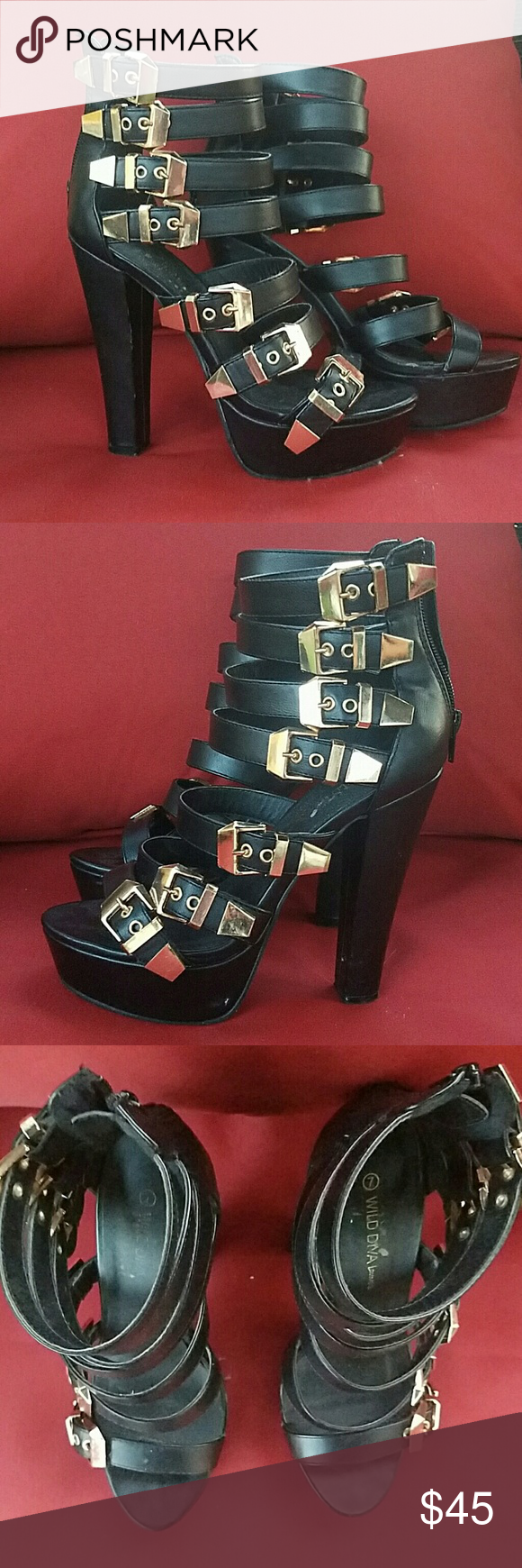 Black strappy heels with gold buckles Size 7 Sexy black heel, super comfortable, worn once. Shoes Heels