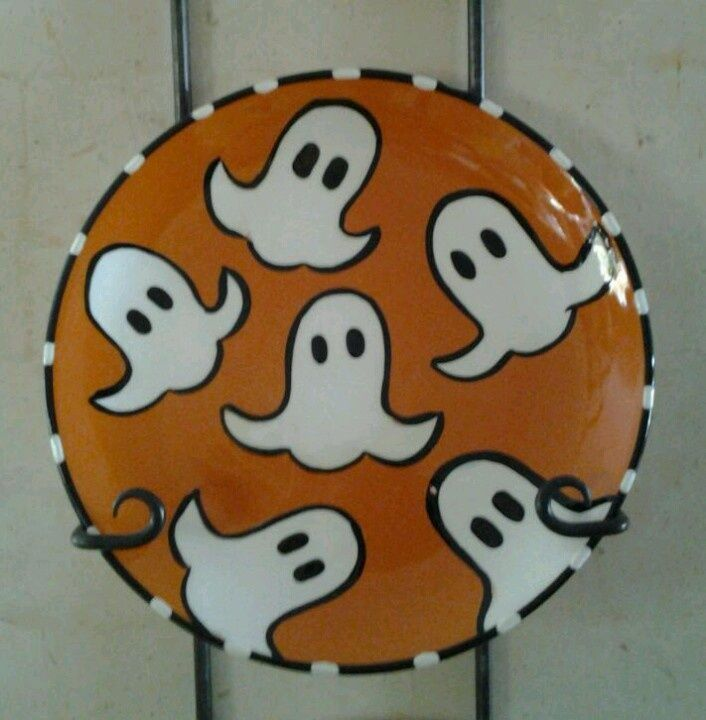 ceramic plates halloween | Ceramic ghost plate painted my my Mississippi friend Cindy! BOO & ceramic plates halloween | Ceramic ghost plate painted my my ...