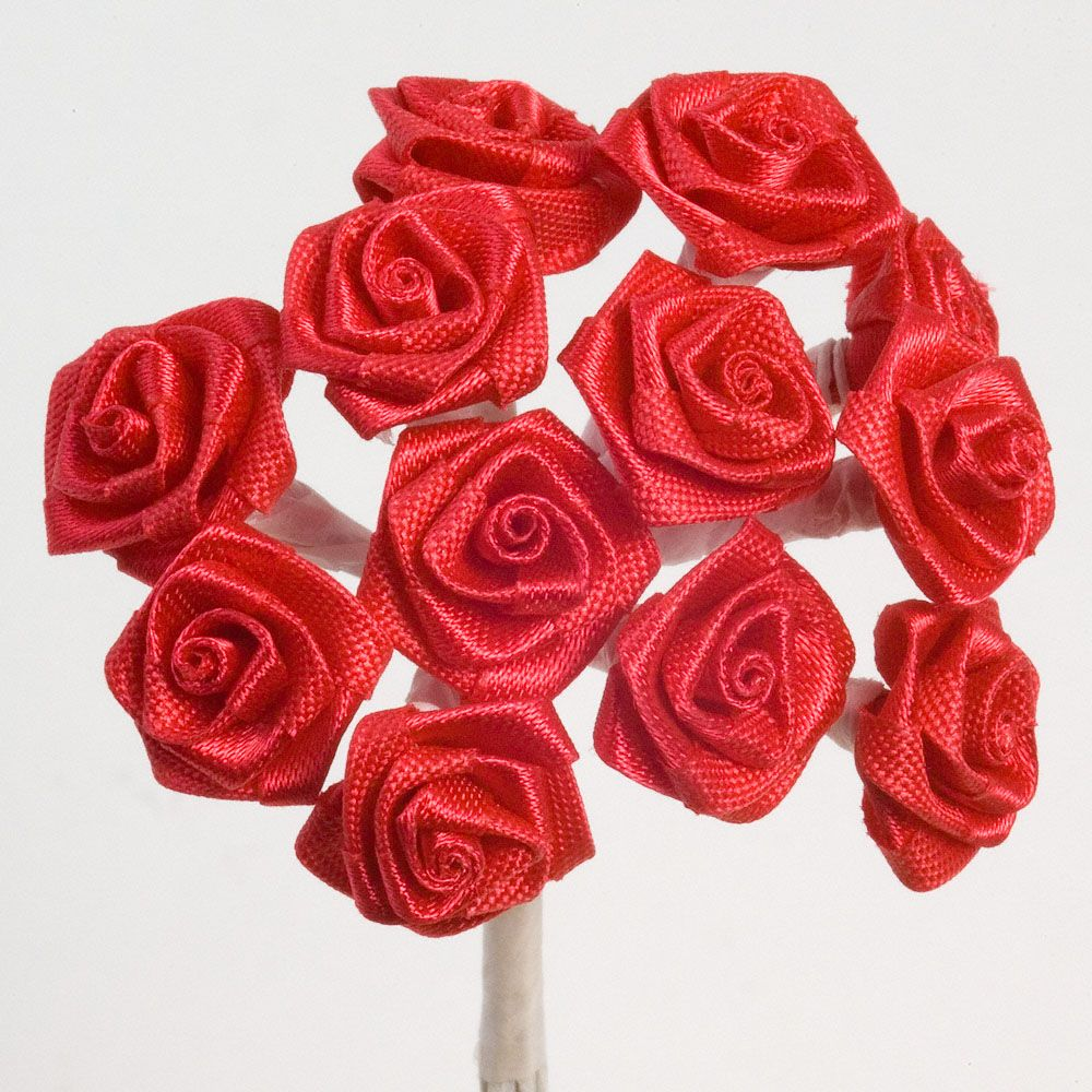 rolled satin ribbon roses in red red favours and accessories