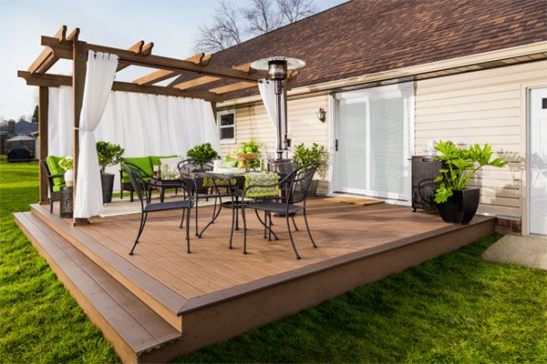 lovely wood deck with pergola on the far side attached to ... on Back Deck Ideas For Ranch Style Homes id=37456
