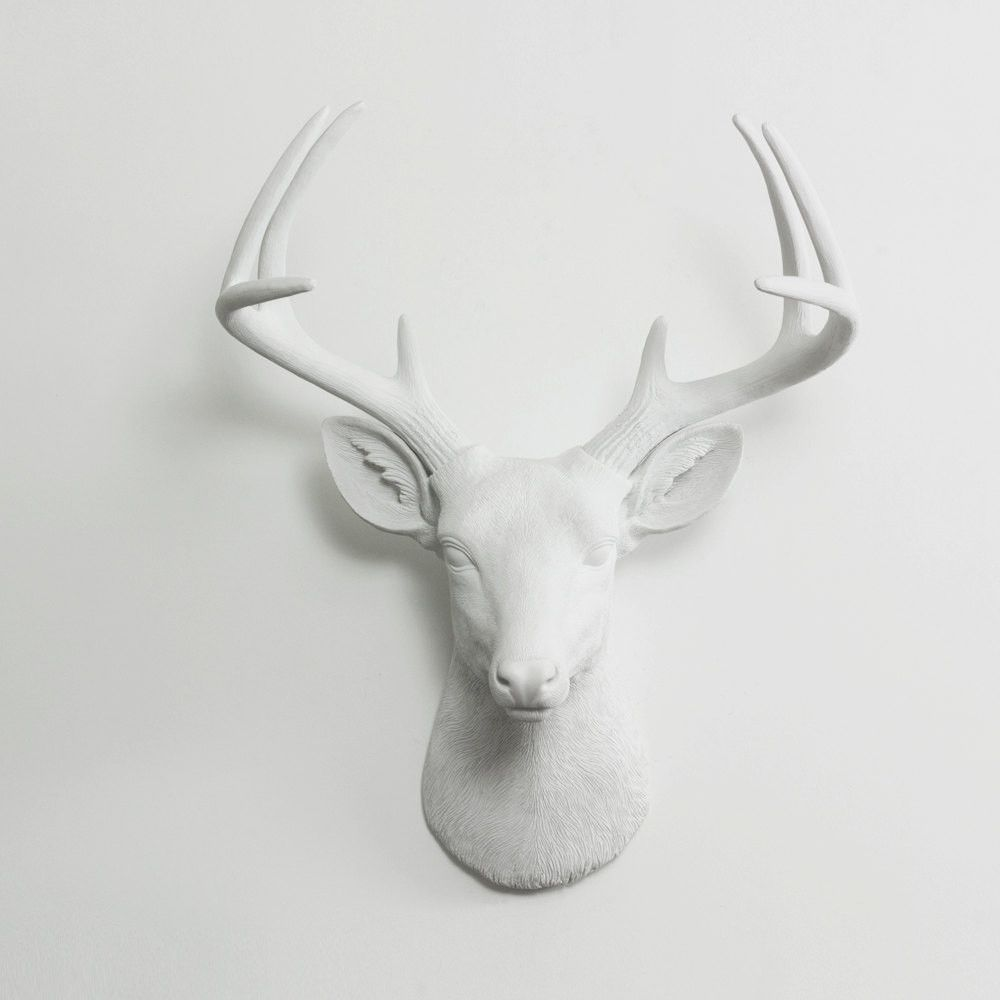 The Virginia Large White Faux Taxidermy Resin Deer Head Wall Mount Stag W Colored Antlers