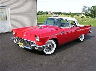 1957 Ford Thunderbird (NJ) - $56,000 Original Burbank, California Car. Torch red exterior with white leather interior. Two roofs (one white porthole hardtop and one black canvas soft top, like brand