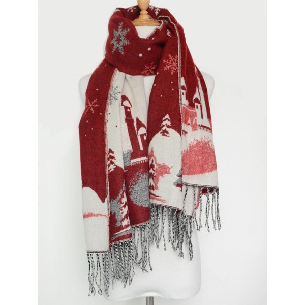 12.37$  Buy now - http://dig3b.justgood.pw/go.php?t=204067601 - Christmas Snow Covered Landscape Tassel Warm Scarf 12.37$