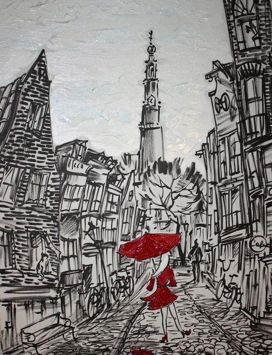 Nu in de #Catawiki veilingen: Elena Polyakova - Een straat met Westerkerk in Amsterdam