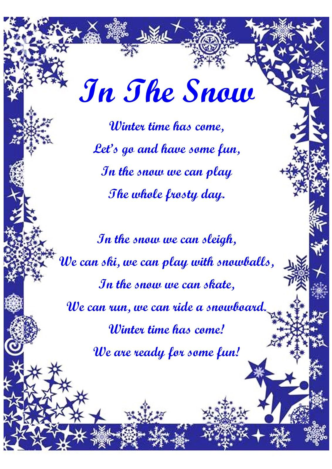 winter words Winter Song about Merry Frosty Days Snow