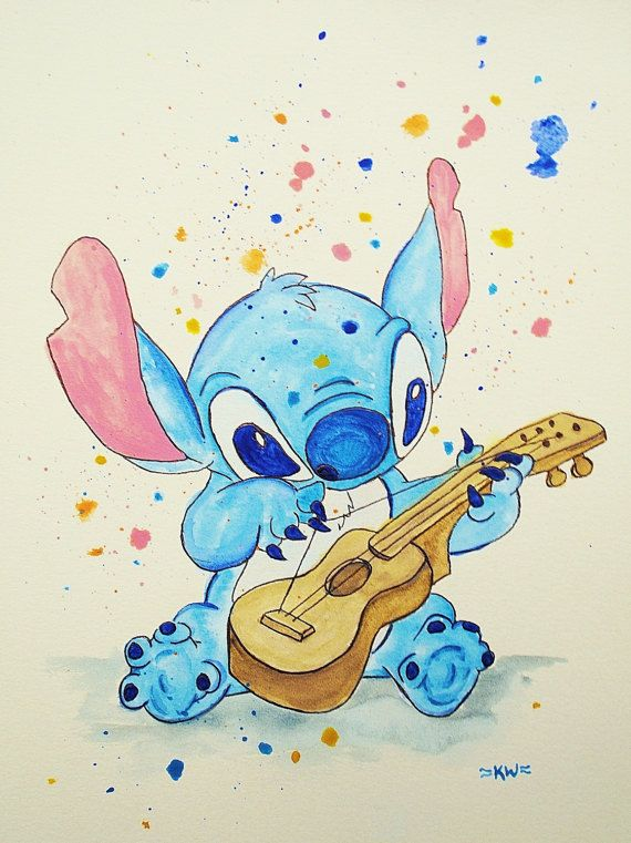Stitch Playing Guitar Original Ink and Watercolor by HedgieArtwork