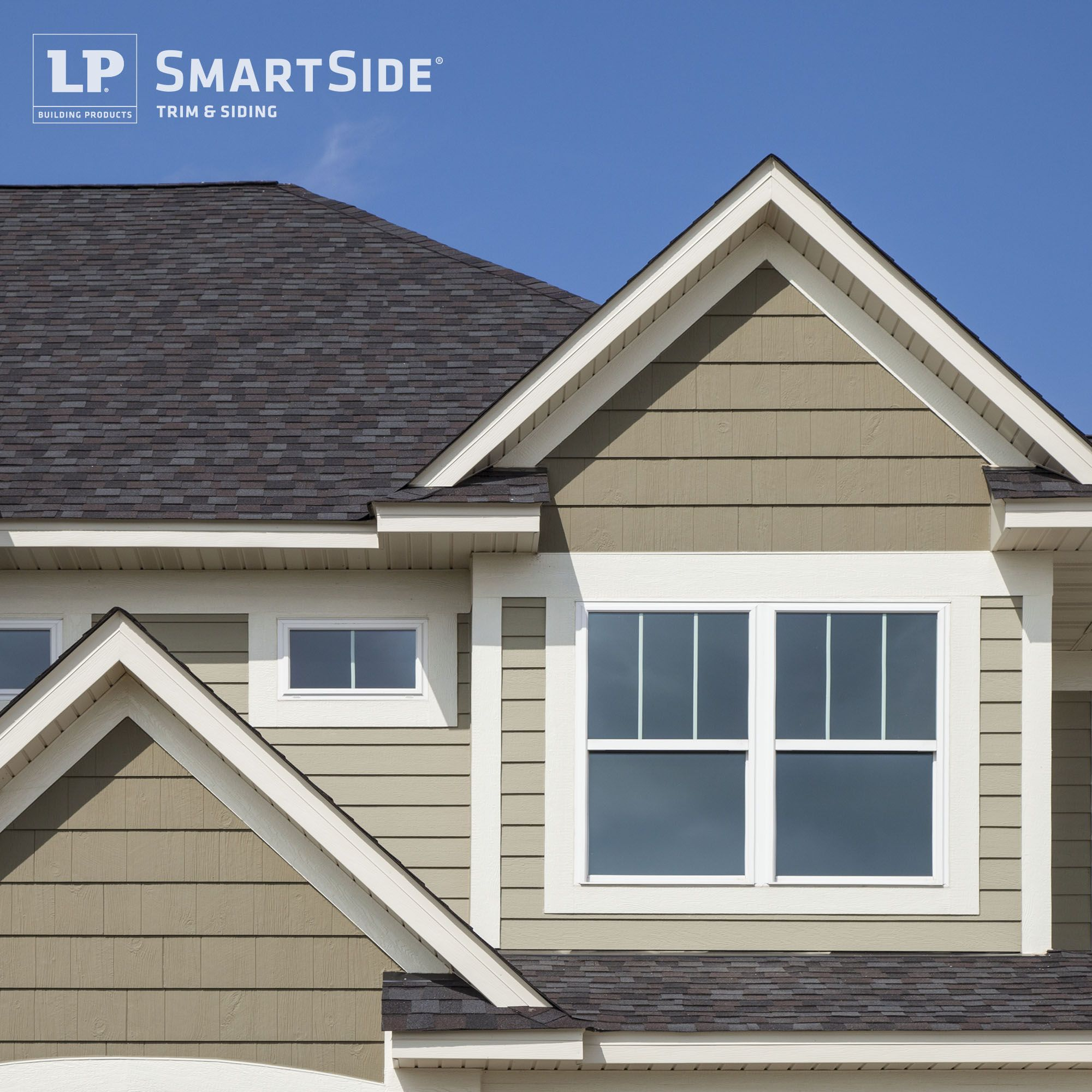 Lp smartside cedar shakes trim and lap siding in neutral for Lp shake siding