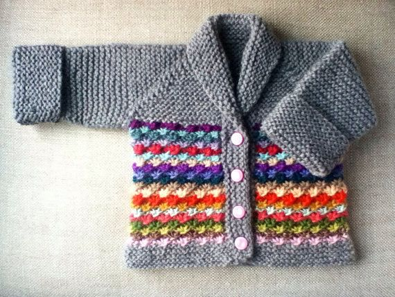 Hand Knit Baby Daisy Stitch Cardigan Sweater In Grey Merinosuri