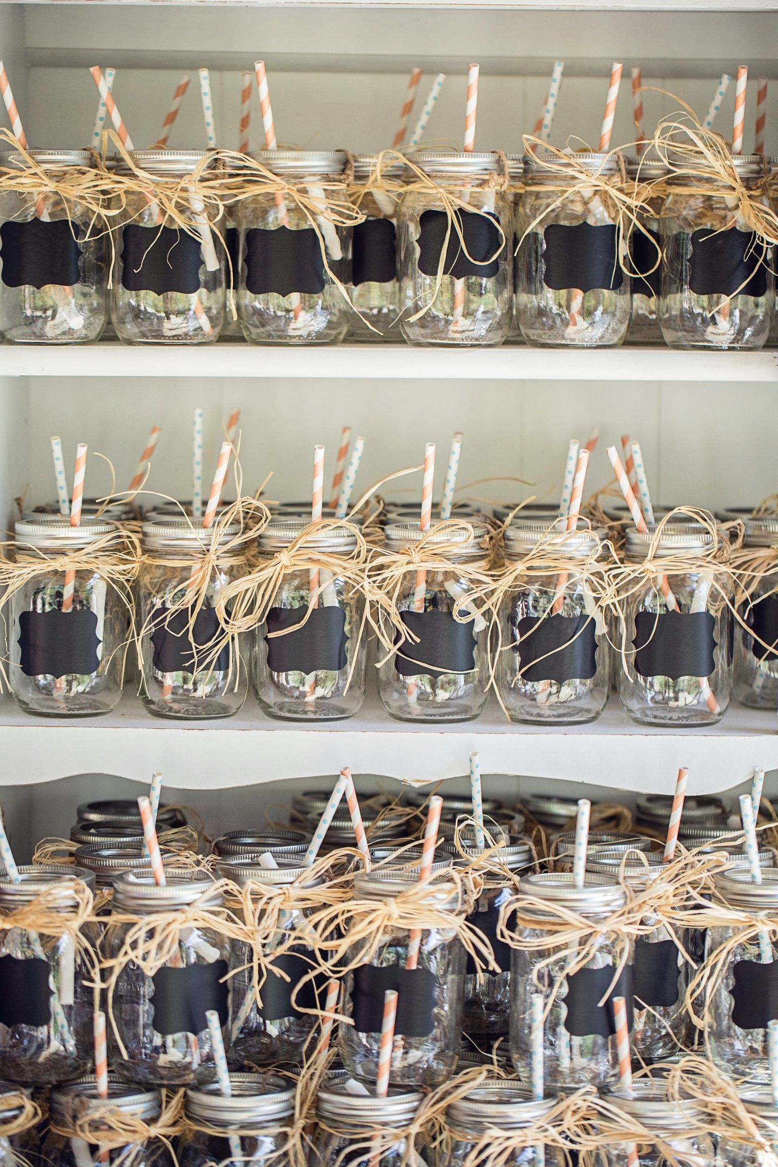 Wedding Favor And Drinking Gl For The Night Mason Jars With Chalkboard Labels Raffia Twine Holding Chalk