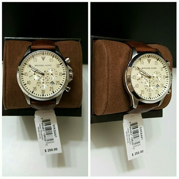 9204234badef Michael Kors Original MK8441 Men's watch Michael Kors Original MK8441 Men's  Gage Brown Leather Strap Chrono