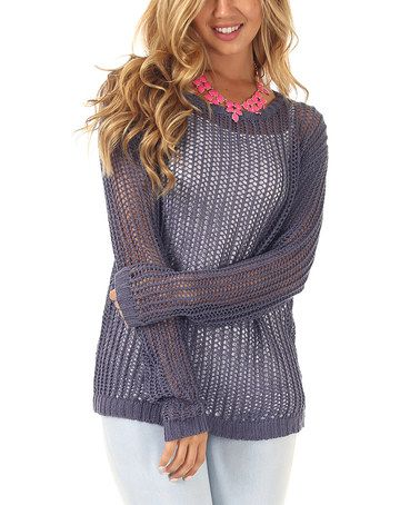 Another great find on #zulily! Navy Blue Loose-Knit Boatneck Sweater by Pinkblush #zulilyfinds