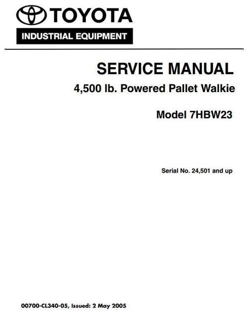 Toyota Powered Pallet Walkie 7hbw23 Sn 24501 And Up