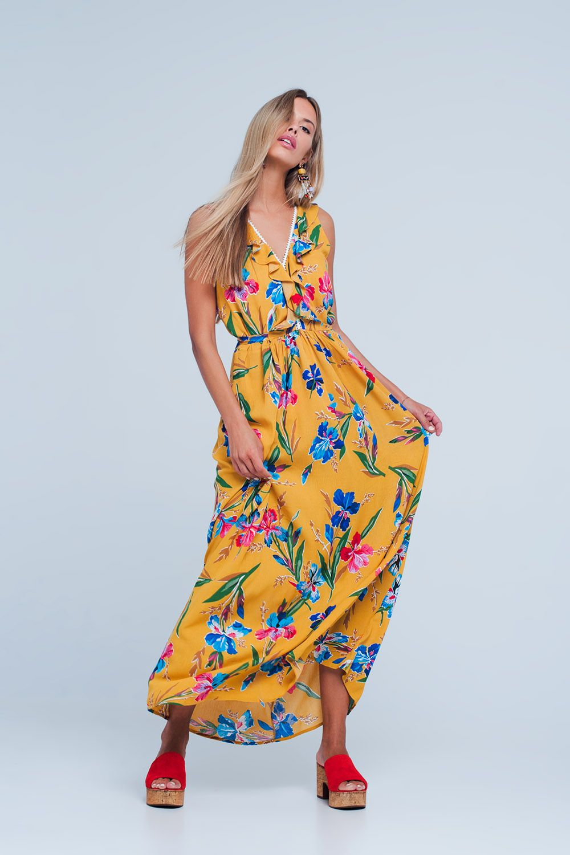 Yellow V Neck Floral Maxi Dress Maxi Dress Yellow Maxi Dress Floral Maxi Dress [ 1500 x 1000 Pixel ]