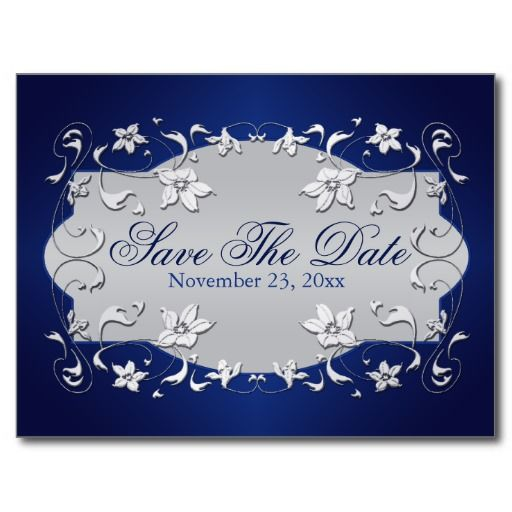Navy, Silver Floral, Hearts Save The Date Postcard