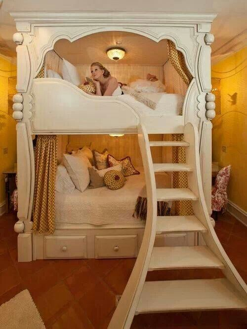 I Love These Sweet Bunk Beds With The Curtains Like Mini Rooms Great Idea If The Girls Continue To Share A R With Images Diy Bunk Bed Princess Bunk Beds Awesome Bedrooms