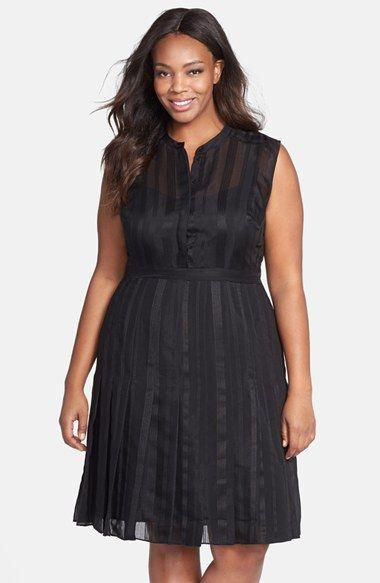 Plus Size Shadow Stripe Fit & Flare Dress   Plus Size Fashion ...