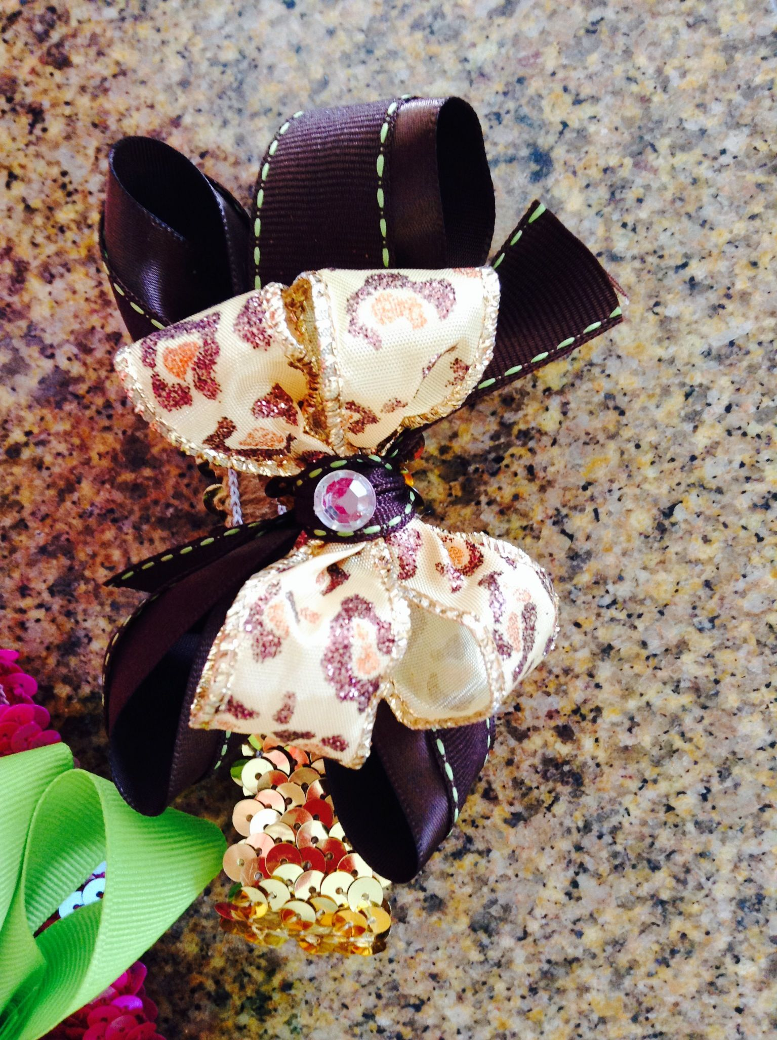 Leopard Print golden & brown baby hairbows I've been working on