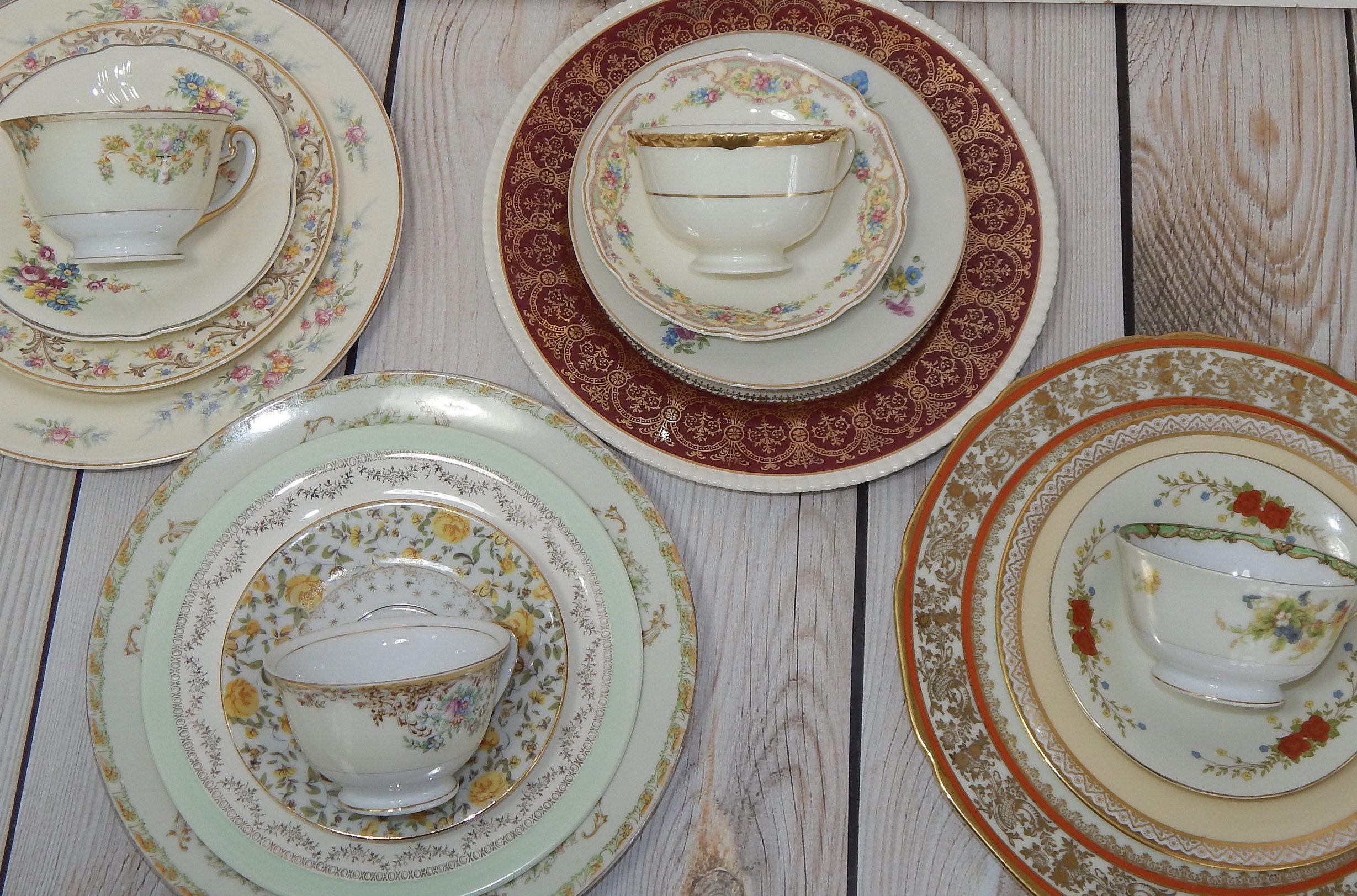 Mismatched Dinnerware Set 16 Pc Vintage China Dinner Plates