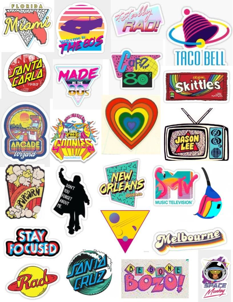 80 S Sticker Pack Aesthetic Stickers Tumblr Stickers Print Stickers