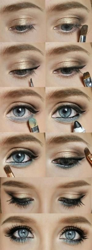 Gold and blue eyeshadow | eHow by Chelsey Starwalt