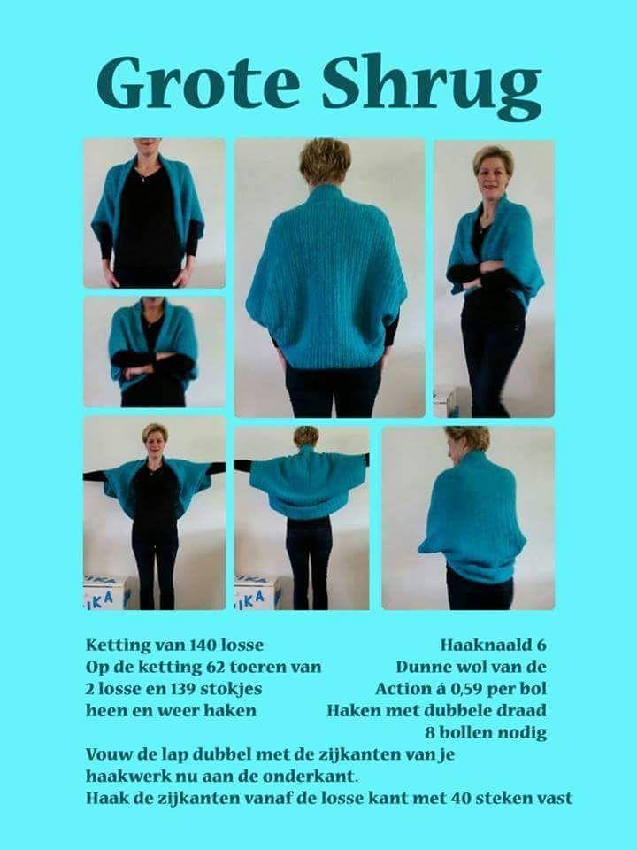 Shrug Haken Met Patroon Crochet Knitting Pinterest Haken
