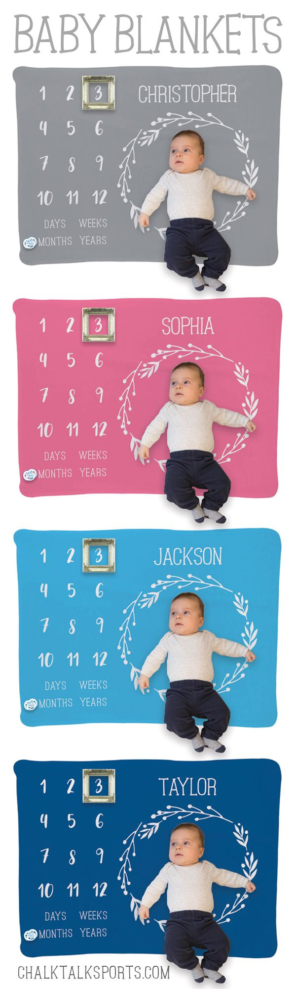 This Personalized Month Milestones baby blanket is the perfect gift for a baby shower or for new parents. Take photos of your baby's growth each month by using items like a pacifier or a small frame to indicate the age of your baby. A gift they'll treasure for years to come!
