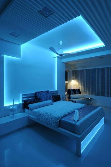 Modern Bedroom In Blue Light Neon Bedroom Neon Lights Bedroom Led Lighting Bedroom