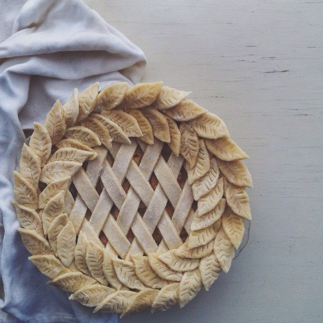 My holiday lattice and leaf pre-bake pie. Can you guess what's inside