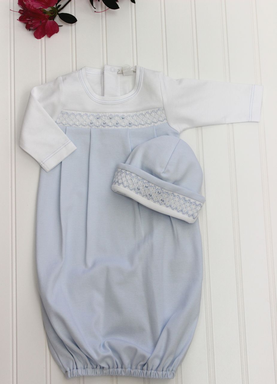 Hiccups Childrens Boutique Kissy Kissy Baby Boys Blue Pima Cotton Gown With Smocking 56 00 Https Baby Boy Gowns Smocked Baby Clothes Newborn Boy Clothes