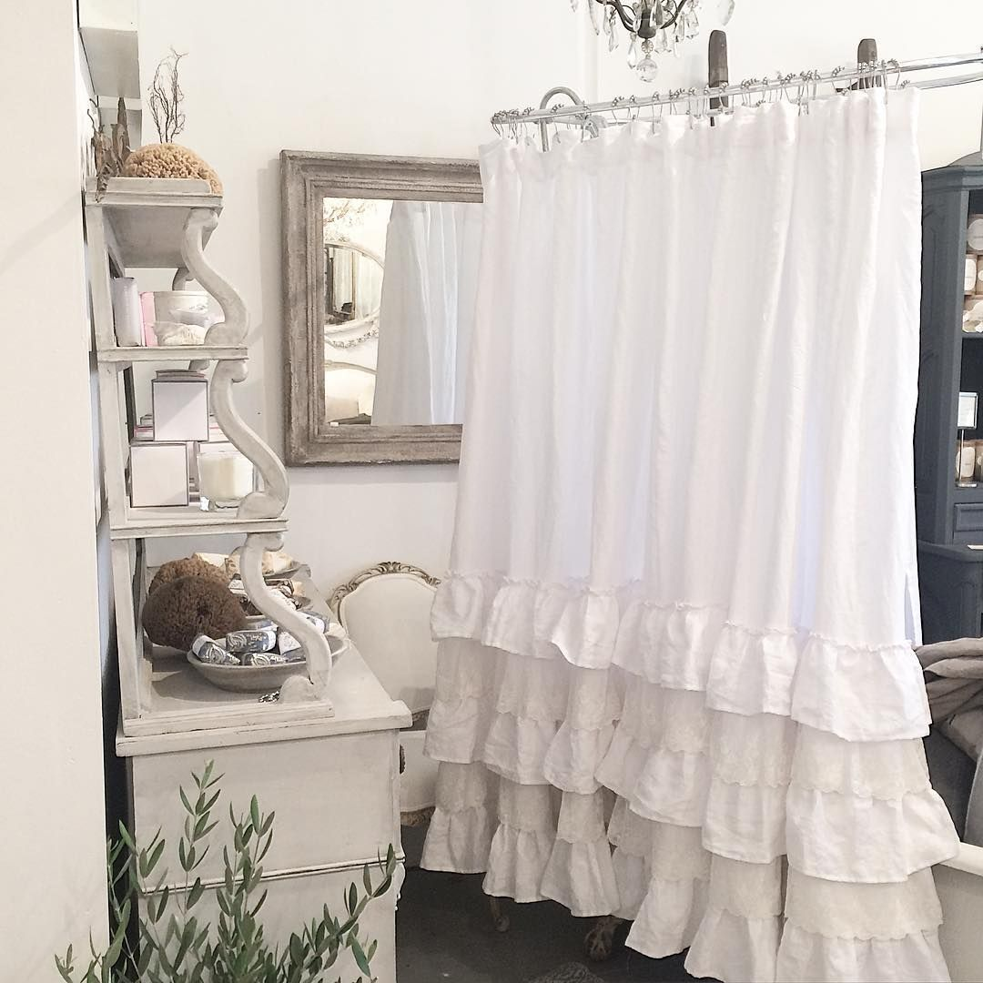 A Beautiful Custom Linen Shower Curtain With Petticoat Ruffles And