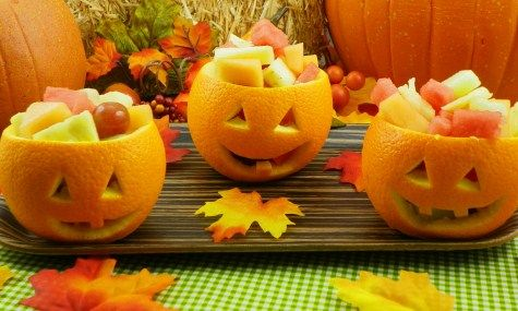 JACK-O-LANTERN FRUIT SALAD: Chop assorted fruit (melon, strawberries, apples, kiwis, etc.) & mix in lg bowl (need 1/2c per orange). Slice off top of orange; using a knife to loosen the edges, scoop out inside of orange w/spoon. Toss juice in w/fruit. Carve small jack-o-lantern face in each orange. Fill each orange w/fruit & replace it's top. Garnish each top w/mint leaves for stems.