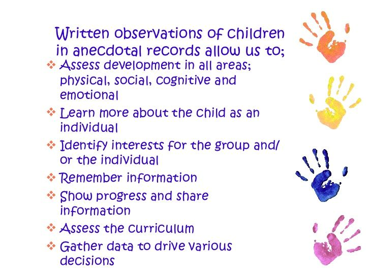 Written Observations Of Children In Anecdotal Records Allow