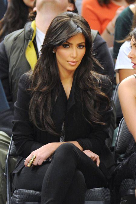 89136837bf28e Kim Kardashian - Loose Waves   Bangs. Wish I could get my hair to do this.
