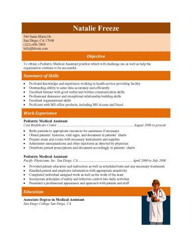Pediatric medical assistant resume template Job searching