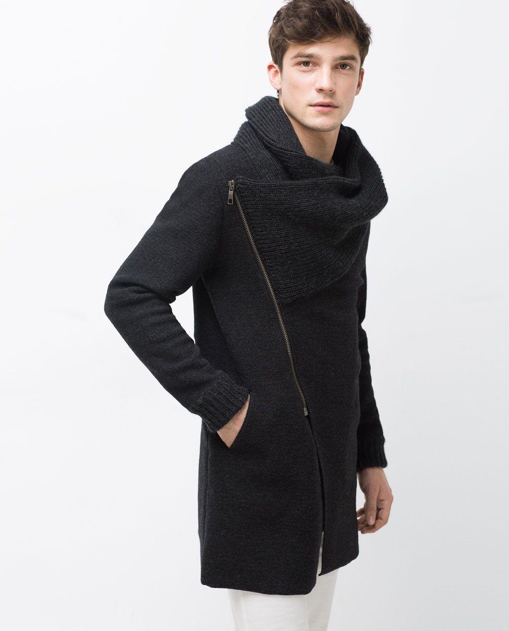 bea76bd968 COAT WITH WRAPAROUND COLLAR | Fashion | Fashion, Mens fashion:__cat ...